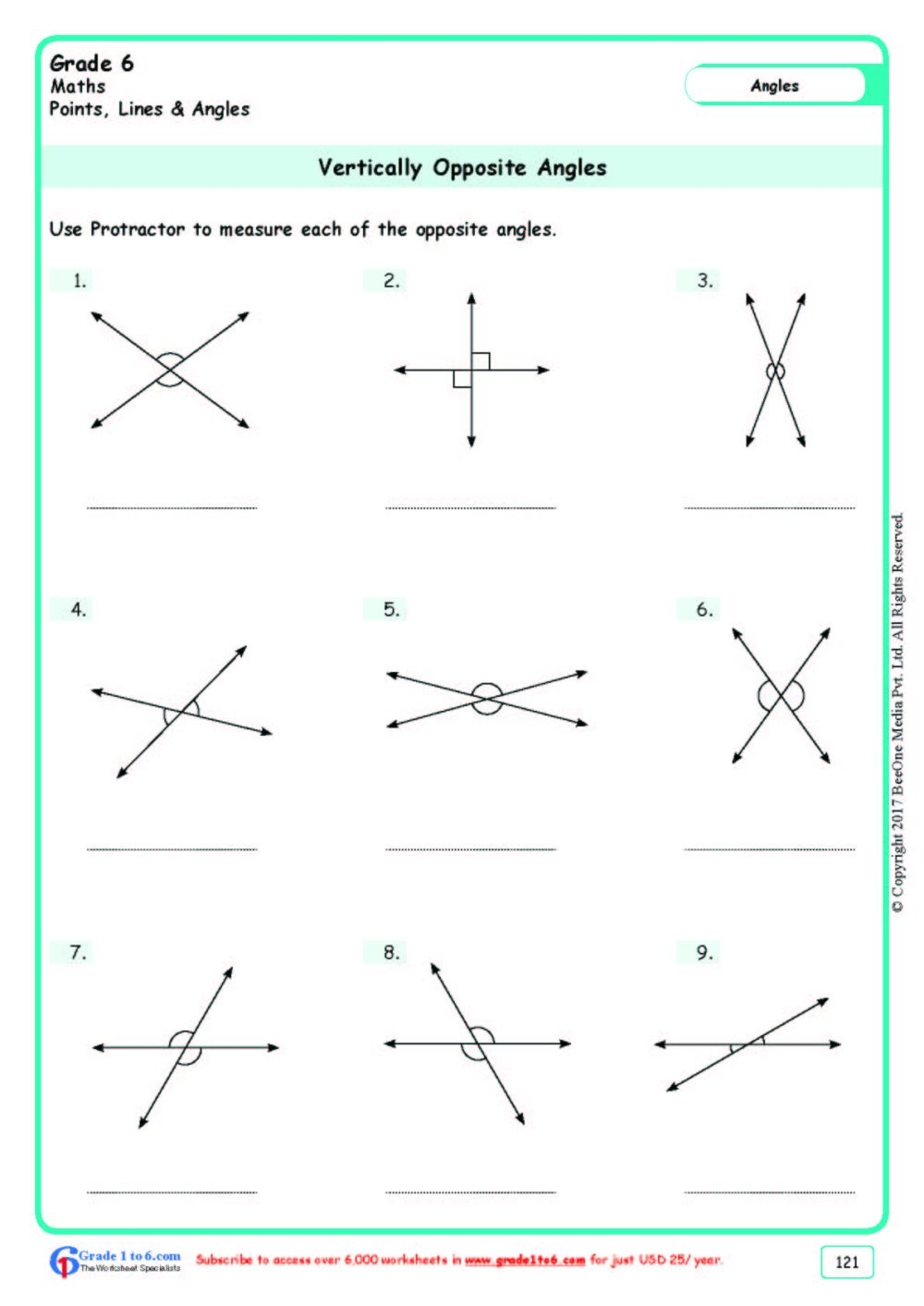 medium resolution of Grade 6 Measuring Angles Worksheets www.grade1to6.com