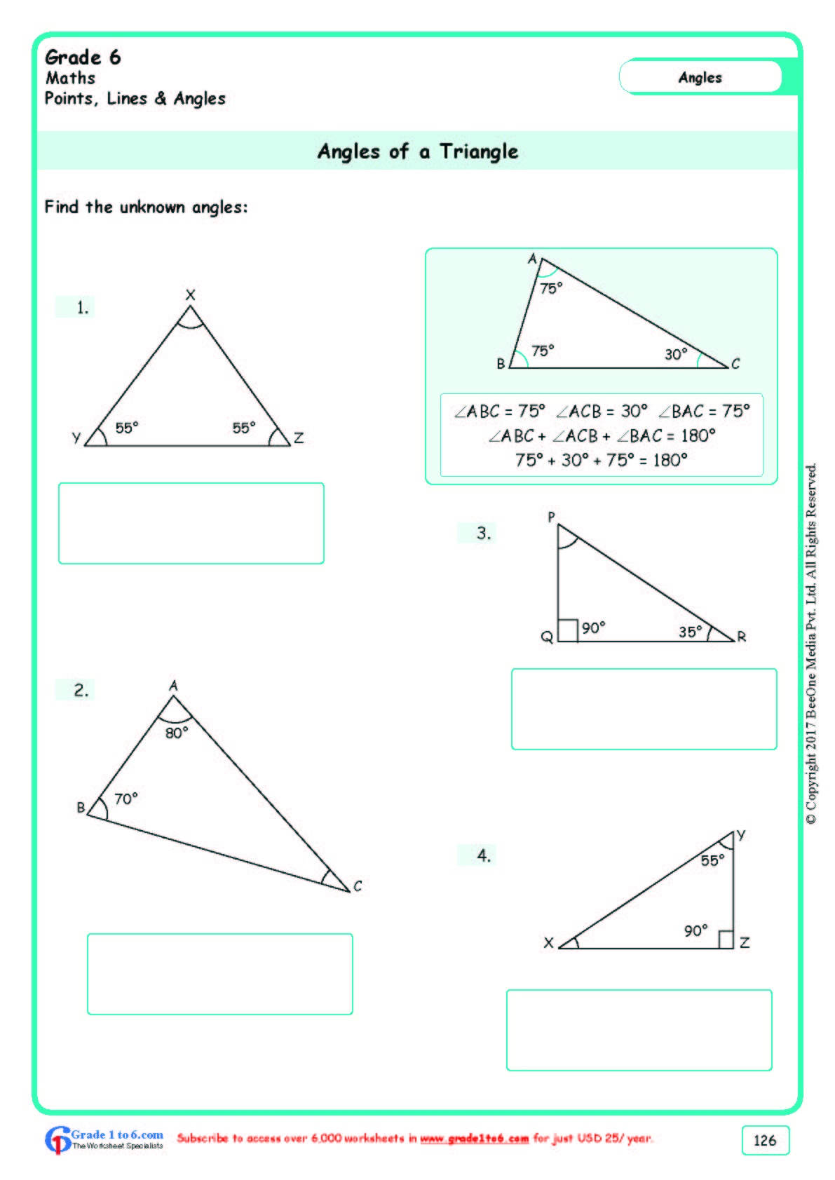 hight resolution of Finding Angles of a Triangle Worksheets www.grade1to6.com