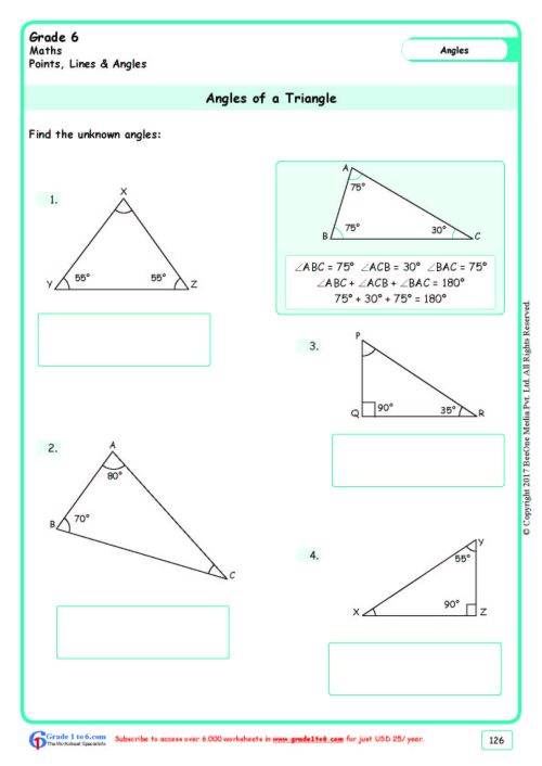 small resolution of Finding Angles of a Triangle Worksheets www.grade1to6.com