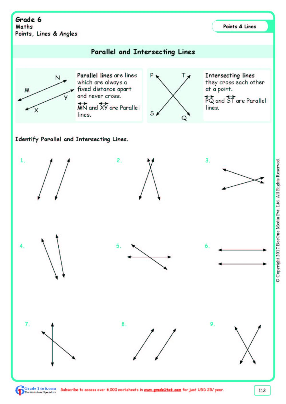 medium resolution of Parallel \u0026 Intersecting Lines Worksheets www.grade1to6.com