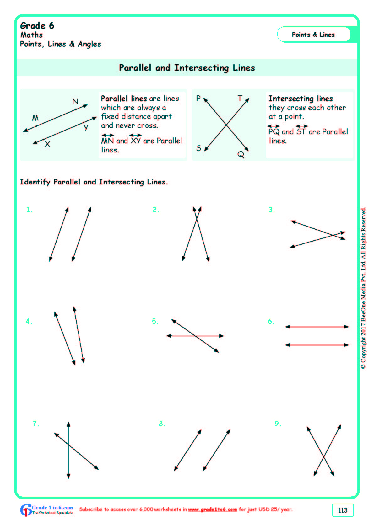 hight resolution of Parallel \u0026 Intersecting Lines Worksheets www.grade1to6.com