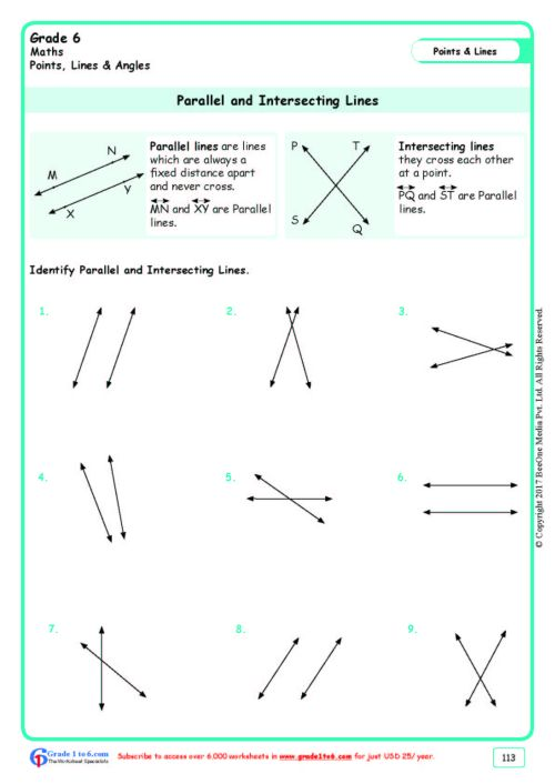 small resolution of Parallel \u0026 Intersecting Lines Worksheets www.grade1to6.com
