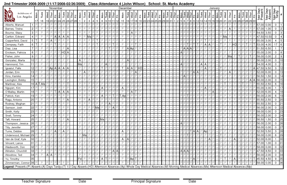 school attendance sheet printable free