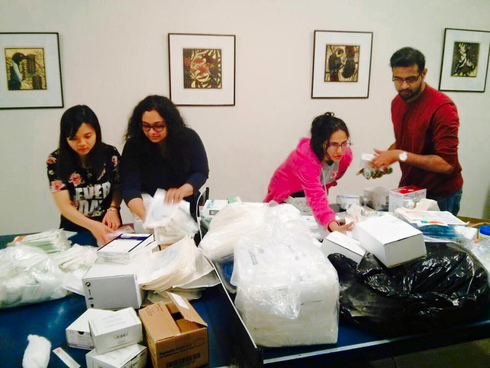 Aid for Nepal_sorting of medical supplies