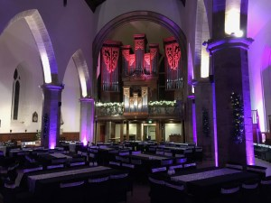 Uplighting the pillars and organ, Greyfriars Kirk, Edinburgh