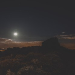 Playing with moonlight at Ashover Rock, Derbyshire