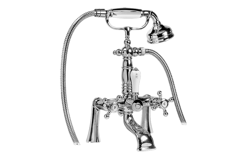Canterbury Exposed Deck-Mounted Tub Filler w/Handshower