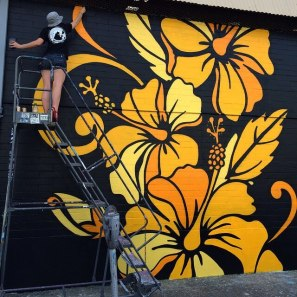 New mural in progress by @davidfloresart. Photo by @PowWowHawaii