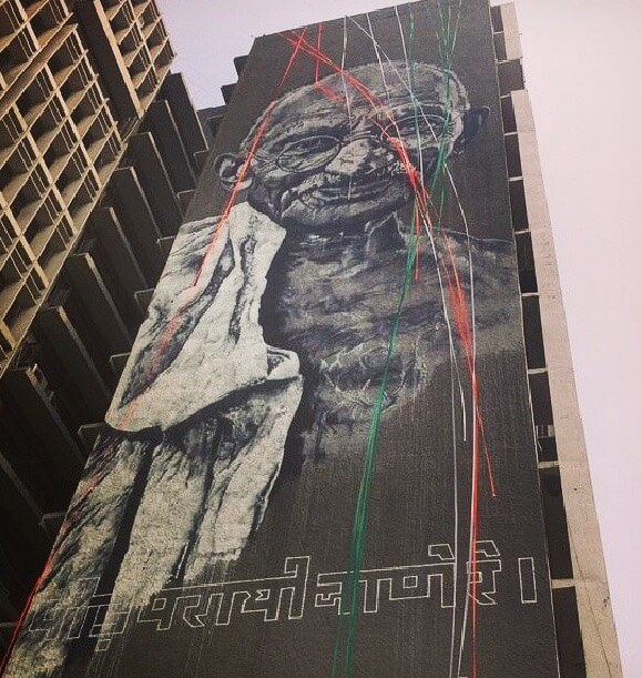 commemoration day at the Gandhiji mural in ITO. Photo courtesy @startindia