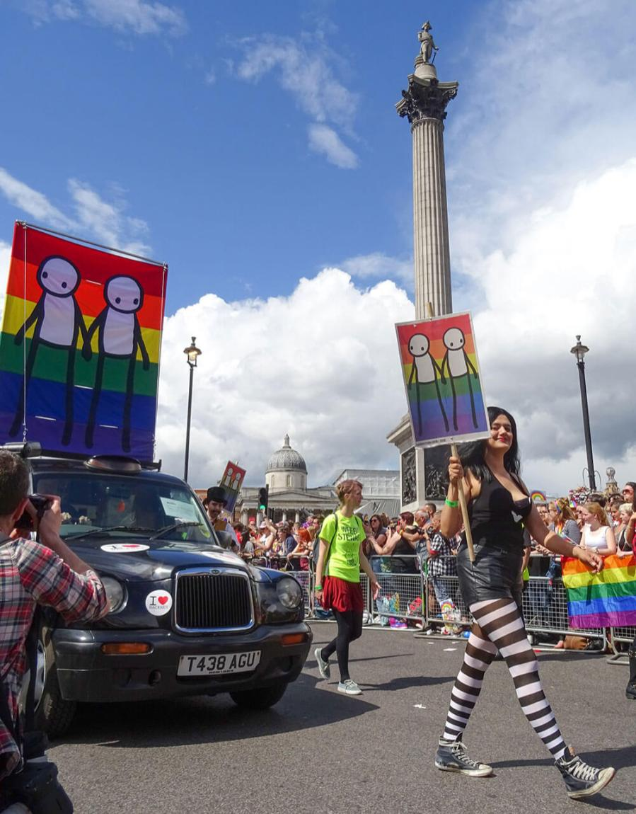Street artist Stik with Becky, Pride in London 2016. Photo © Stik