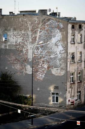 Vhils, Urban Forms street art gallery, Lodz, Poland.