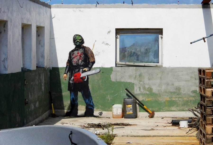 JPS - LeatherFace street art. Photo Credit JPS