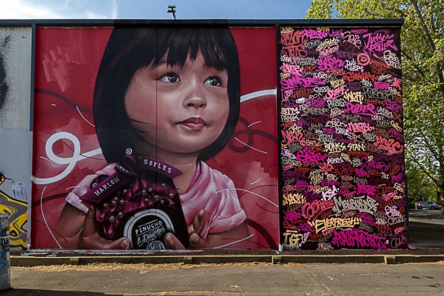 Sofles, Street Art Mural, Fitzroy, Melbourne, Australia 2016. Photo credit p1xels.
