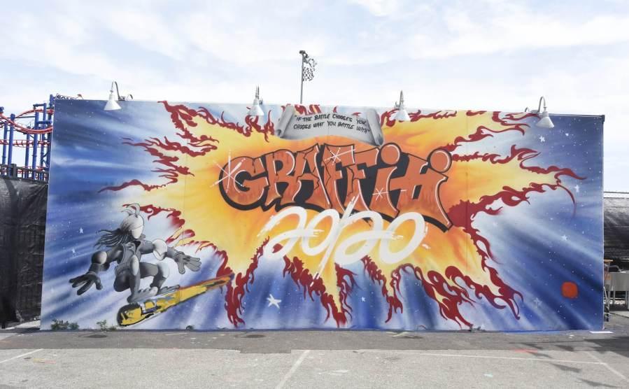 Lee Quinones, Coney Art Walls, New York City 2017. Photo Credit Martha Cooper