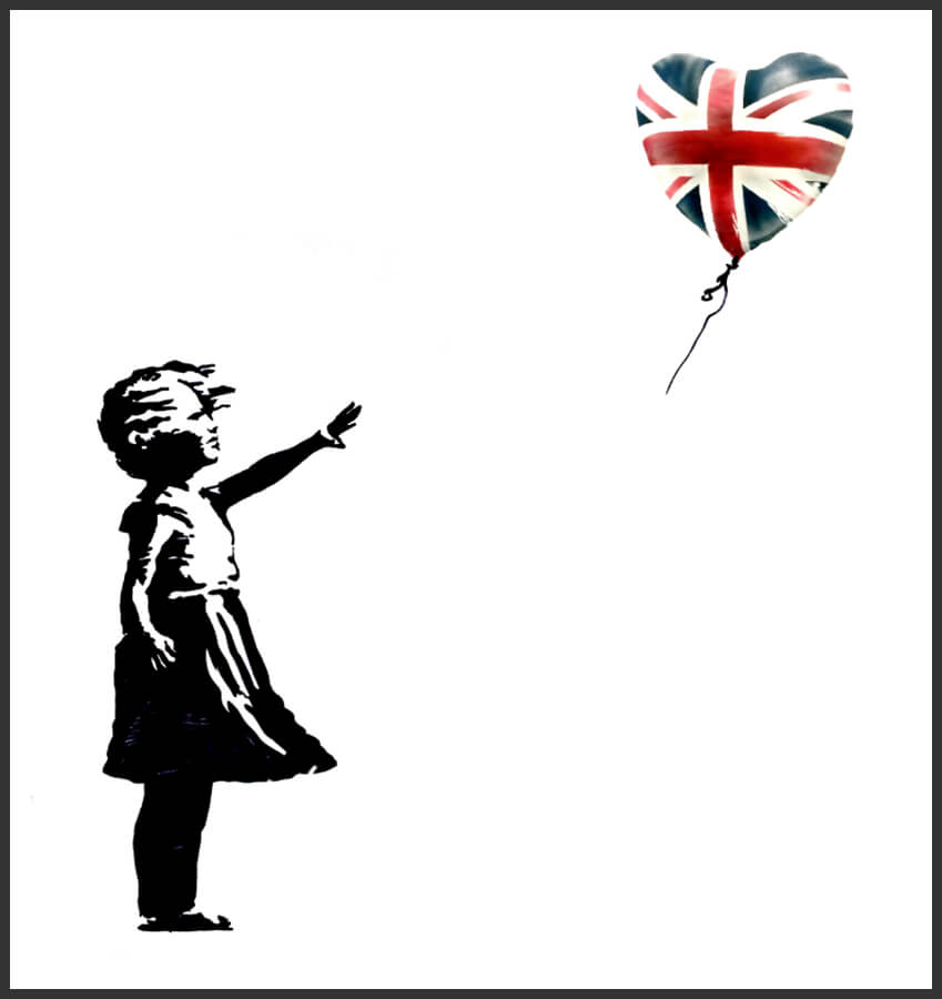 Banksy's UK Girl with Balloon Election Souvenir Special Print Release, 2017. photo Credit Banksy