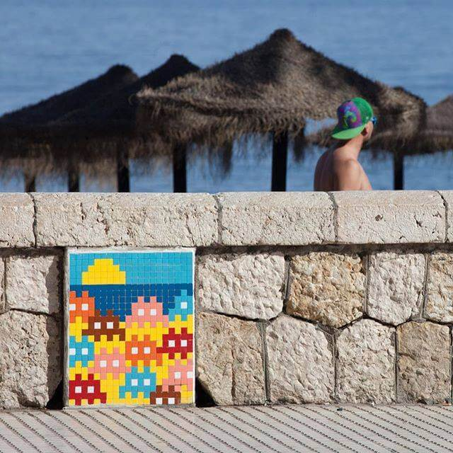 Invader's invasion of Malaga 2017. Photo credit Invader