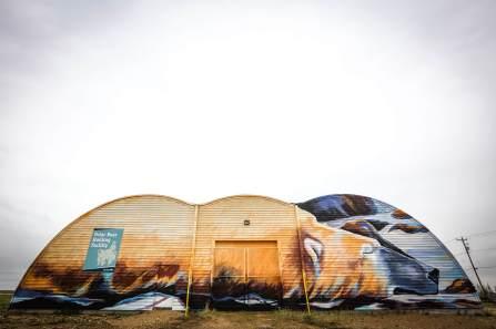 Kal Barteski, Pangeaseed Foundation, Sea Walls: Murals for Oceans Street Art Festival Churchill, 2017. Photo Credit Tré Packard