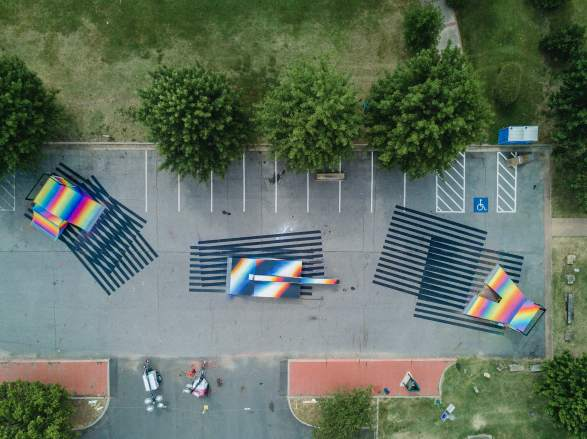 Felipe Pantone, The Unexpected Urban Art Festival, Fort Smith, Arkansas 2017. Photo Credit JustKids