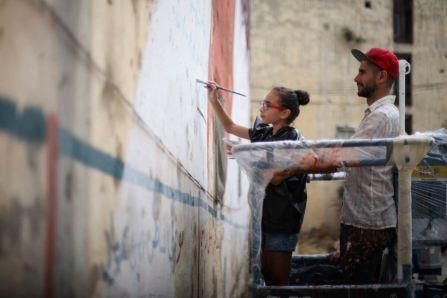 Kevin Ledo, Facing the Future, Street Art Mural, Paint Outside The Lines Beruit, Lebanon 2017. Photo Credit aptART