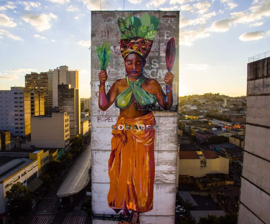 Priscila Amori, CURA Street Art Festival, Belo Horizonte, Brazil 2017. Photo Credit Instagrafite