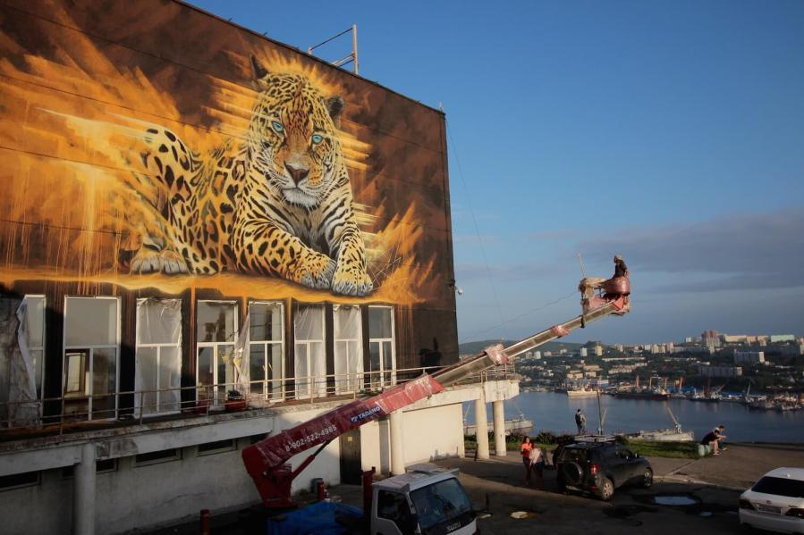 Sonny, To the Bone Street Art Mural, Far Eastern Leopard, Vladivostok Russia 2017. Photo Credit Tess Cunliffe.
