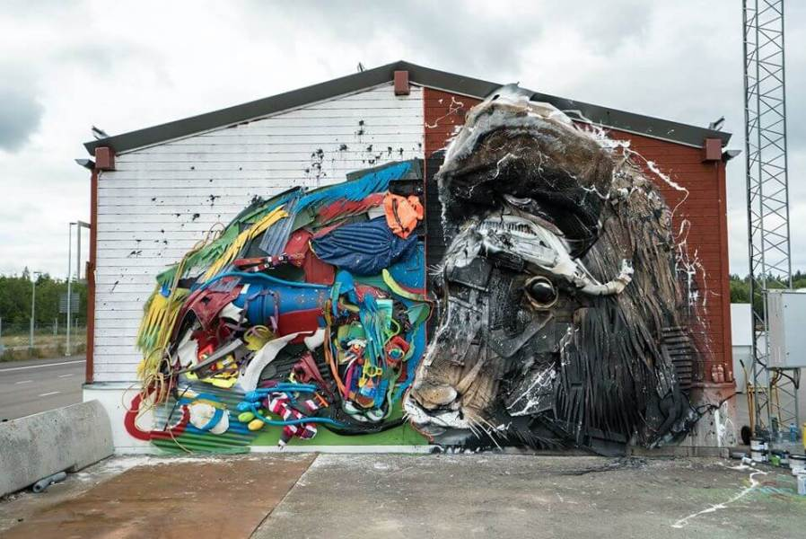 Bordalo ii, Artscape Street Art Festival, White Moose Project, Sweden 2017.