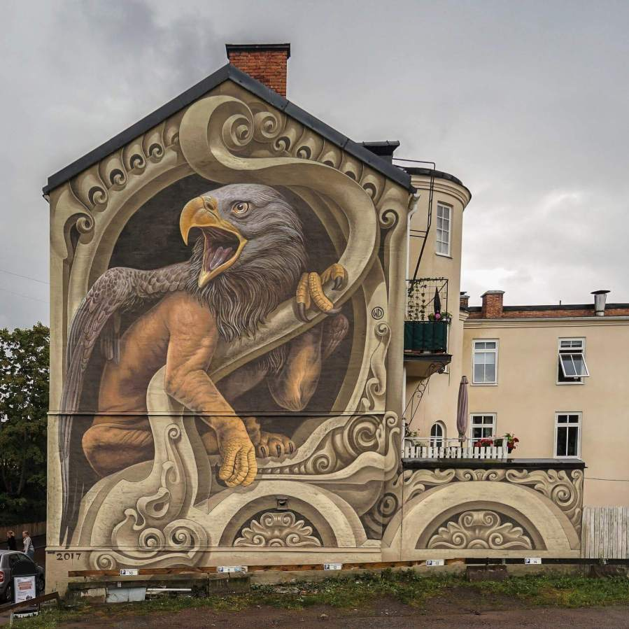 Griffin Wild, Artscape Street Art Festival, White Moose Project, Sweden 2017. Photo credit Shwdwn Productions.