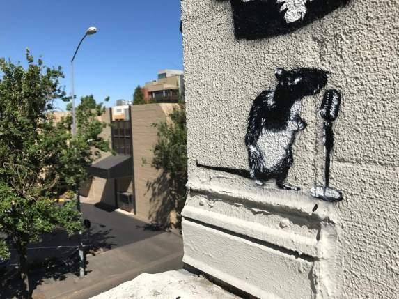 Blek le Rat, Crooner Rat, 20x21EUG Mural project, Eugene 2017. Photo Credit Debbie Williamson Smith