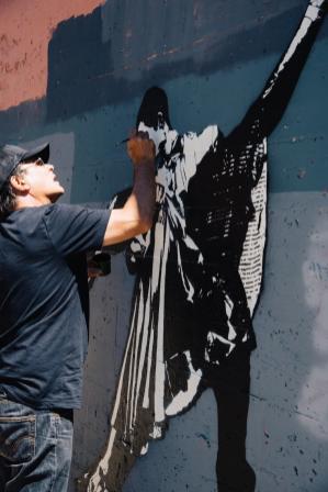 Blek le Rat, 20x21EUG Mural project, Eugene 2017. Photo Credit Maricel Teague of Imagination International