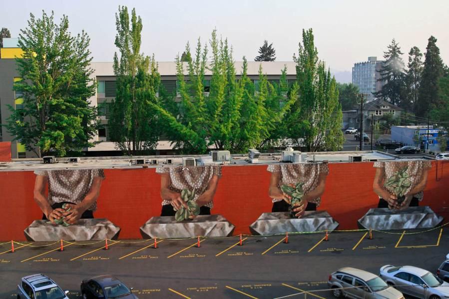 Hyuro, 20x21 Street Art Project, Eugene 2017. Photo Credit Athena Delene