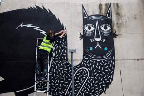 Joachim, King of Cats, Street Art Mural, Chichester 2017. Photo Credit graffitistreet