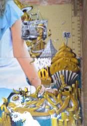 BKfoxx and Zeso, Alice in Wonderland Street Art Mural series 1 'Getting to know you' 2017. Photo Credit BKfoxx