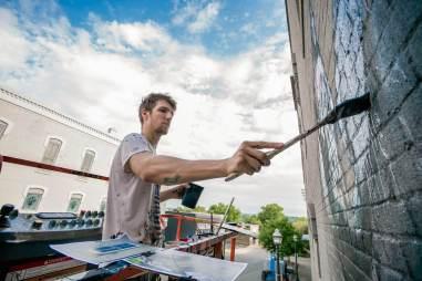 Ernest Zacharevic, Green Candy Urban Art, Fayetteville, Arkansas 2017. Photo Credit JustKids