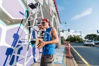 Marina Zumi, Green Candy Urban Art, Fayetteville, Arkansas 2017. Photo Credit JustKids