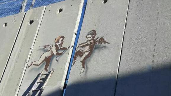 Banksy, Stencilled Cherubs, The Walled Off Hotel, Bethlehem, West Bank 2017. Photo Credit @alaa_taxi_driver_bethlehem