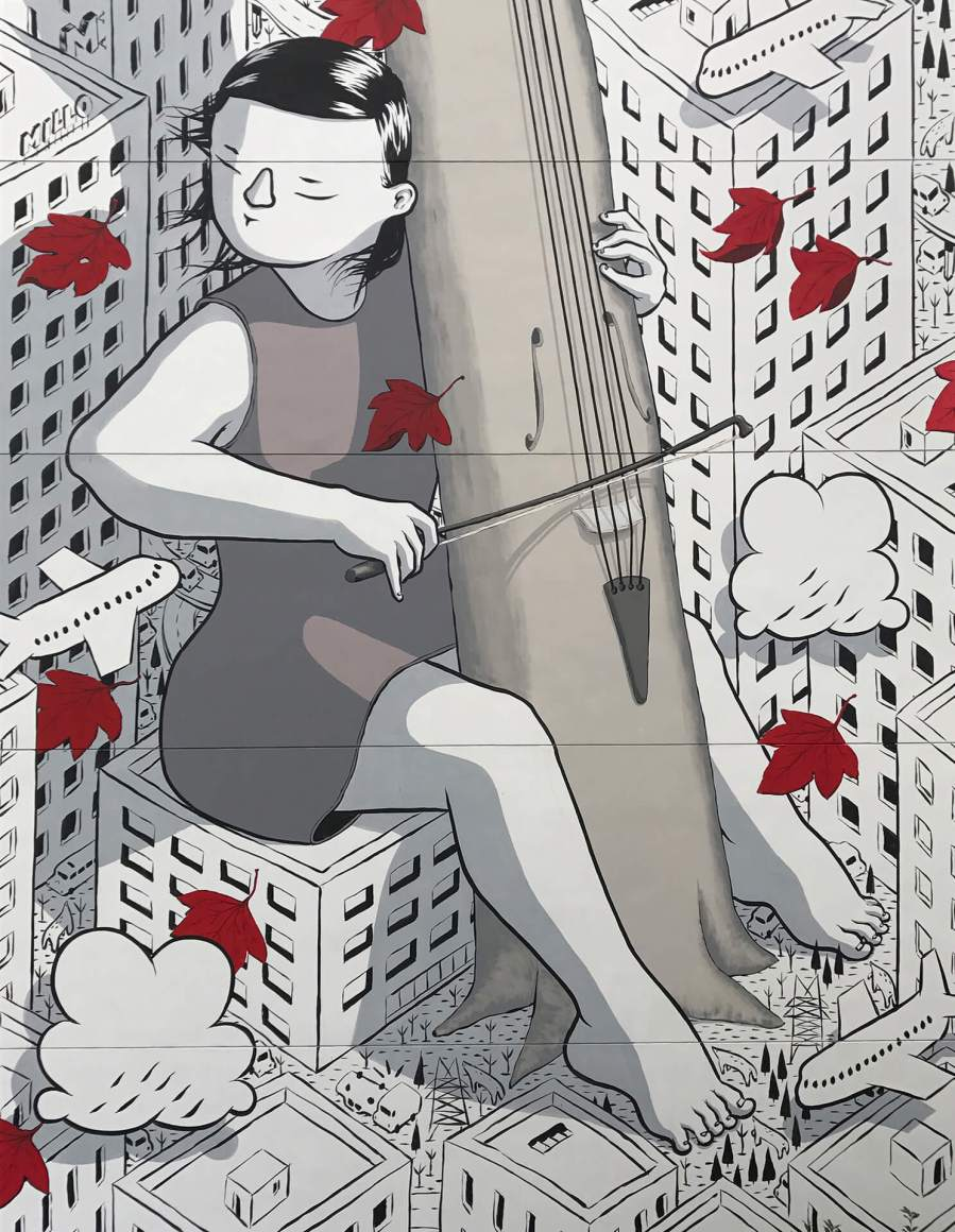 "Millo, Street art Mural ""Sound of you "" Shanghai, China 2017. Photo Credit Millo"
