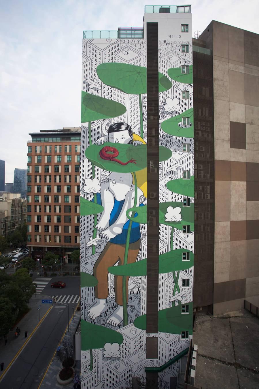 "Millo, Street art Mural "" Twist of Fate"" Shanghai, China 2017. Photo Credit Millo"