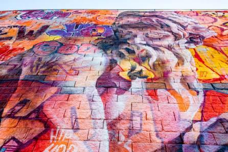 "PichiAvo, Street Art Mural ""Rivanna River by Poseidon"",5th Street Station,Charlottesville, Virginia. © Graffitistreet.com"