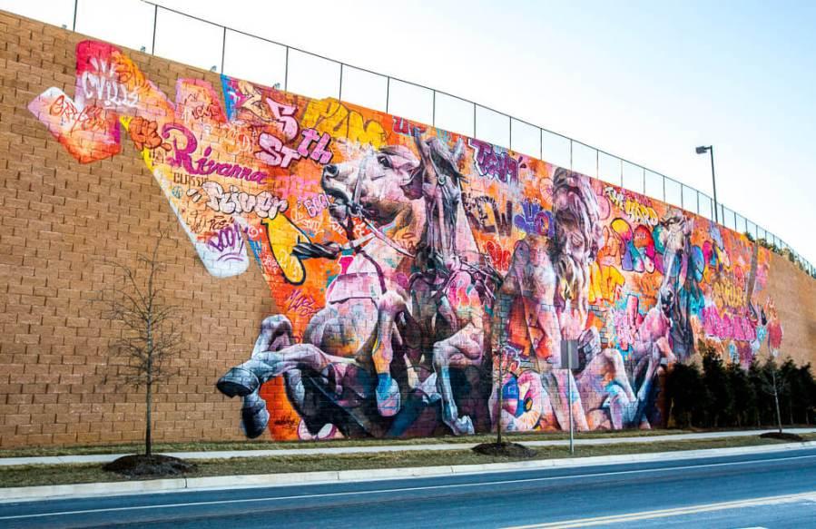 "PichiAvo, Street Art Mural ""Rivanna River by Poseidon"",5th Street Station,Charlottesville, Virginia 2017. © Graffitistreet.com"