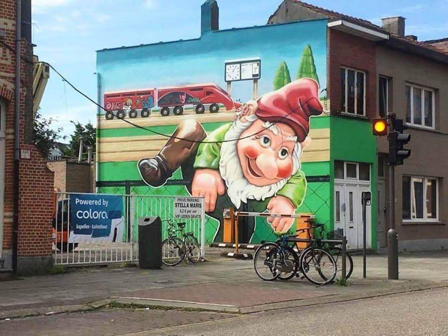 Smok, Bird and Nefast, Bombing Gnome, Street Art Antwerp, Belgium