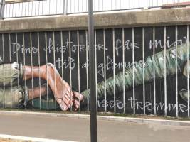 "Herakut, Street art Mural ""Your Stories make me forget those Prison Bars"", Aalborg, Denmark 2018. Photo Credit Lene Kirk"