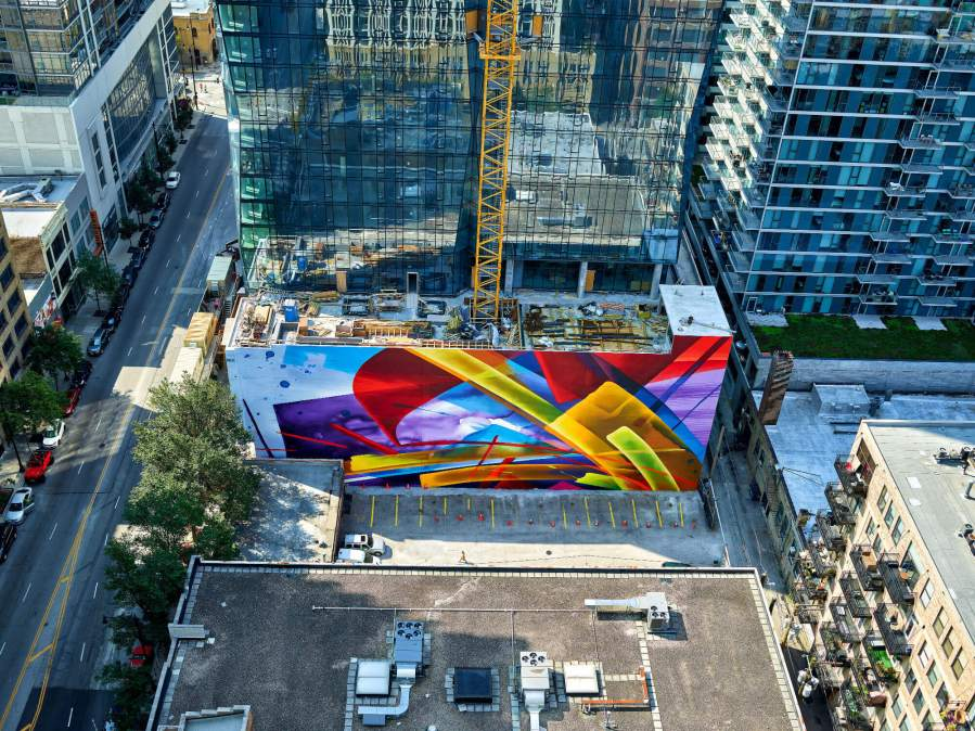 MadC, 1000m Street Art Mural, Chicago 2018. Photo Credit Marco Prosch