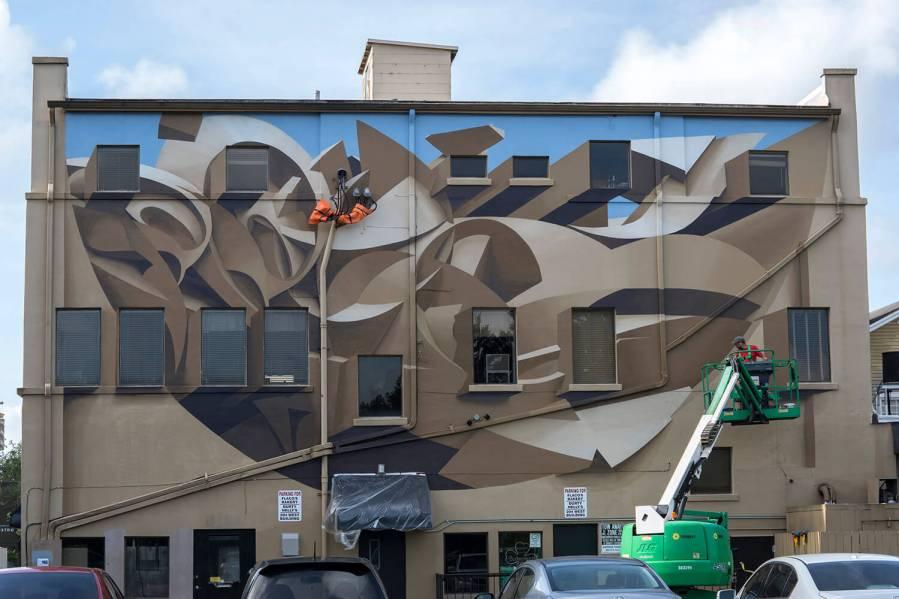 Peeta, Anamorphic-Mural, Downtown Gainesville. Photo Credit Iryna Kanishcheva