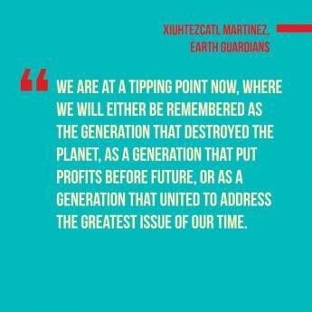 Activist Xiuhtezcatl-Martinez, We The Future. Instagram post