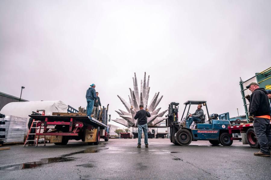 """Okuda, """"Air, Sea, Land """", Boston Seaport 2018. Photo Credit Justkids"""