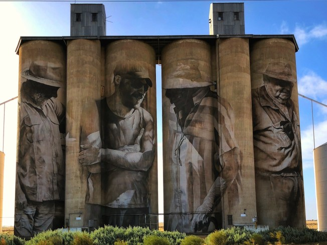 Guido Van Helten, Wimmera-Mallee Trail Silo Art Trail -Brim was completed in late 2015 and is the first silo in the Australian Silo Art Trail. Photo Credit Annette Green