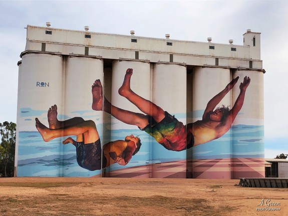 Martin Ron – South Australia Silo Art Trail –Tumby Bay were completed in 2018. Photo Credit Annette Green