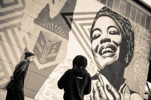 Shepard Fairey, Maya Angelou Mural Festival, Dr. Maya Angelou community School 2019. Photo Credit Jeffery Packard