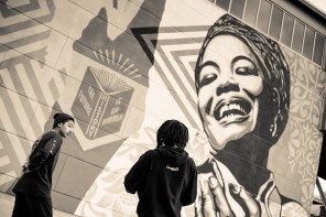 Shepard Fairey, Maya Angelou Mural Festival, Dr. Maya Angelou community School 2019. Photo Credit Jeffery Packard