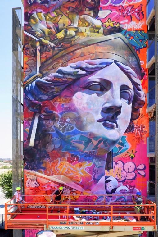 PichiAvo, Greek goddess Athena, Barcelona 2019. Photo Credit Fer Alcalá